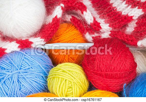 Colorful balls of wool yarn - csp16761167