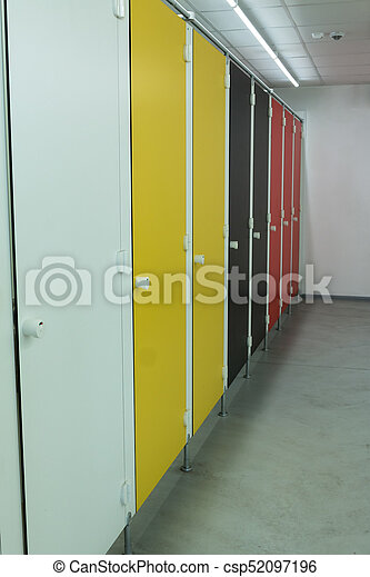 Colorful Bathroom Stall Doors - csp52097196 & Colorful bathroom stall doors: modern public restroom stock ...
