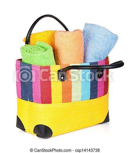 Colorful beach bag with towels - csp14143738