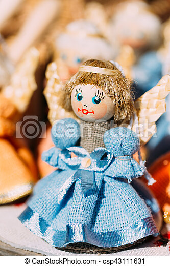 Colorful Belarusian Straw Doll At Local Market In Belarus - csp43111631