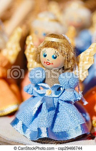 Colorful Belarusian Straw Dolls At Local Market In Belarus - csp29466744