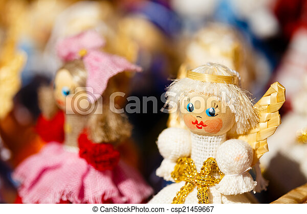Colorful Belarusian Straw Dolls At The Market In Belarus - csp21459667