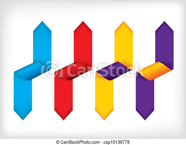 Colorful bent ribbon set of four - csp10139778