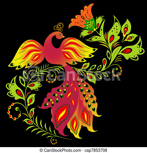 Colorful bird and flower - csp7853708