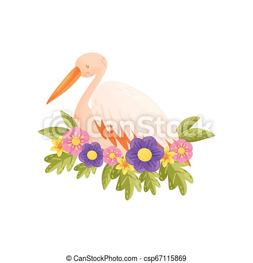 Colorful bird on white background. Vector flat illustration. - csp67115869