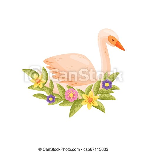 Colorful bird on white background. Vector flat illustration. - csp67115883