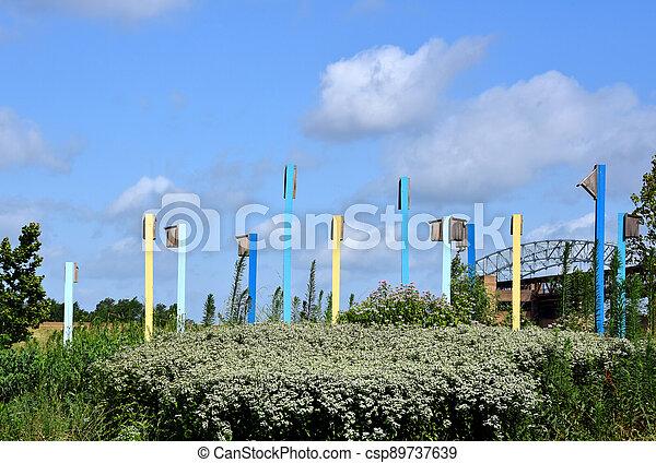 Colorful Birdhouses in Riverfront Park Memphis - csp89737639