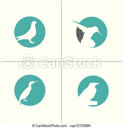 colorful birds vector logo design, freedom, happiness, fly, in circle hummingbird, flying duck illustration - csp72723890
