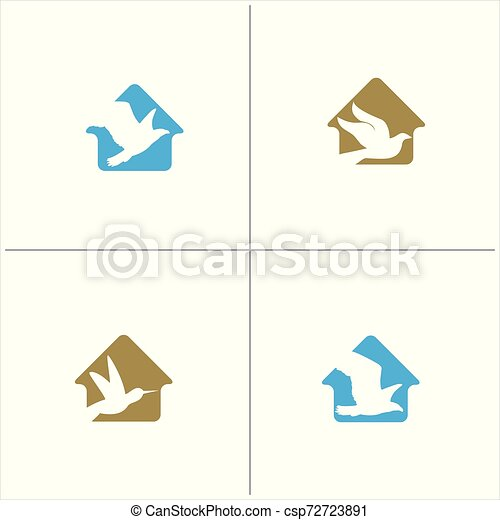 colorful birds vector logo design, freedom, happiness, fly, in circle hummingbird, flying duck illustration - csp72723891