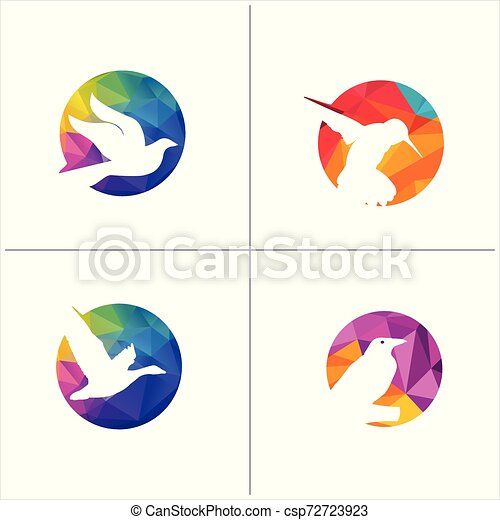 colorful birds vector logo design, freedom, happiness, fly, in circle hummingbird, flying duck illustration - csp72723923