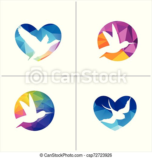 colorful birds vector logo design, freedom, happiness, fly, in circle hummingbird, flying duck illustration - csp72723926