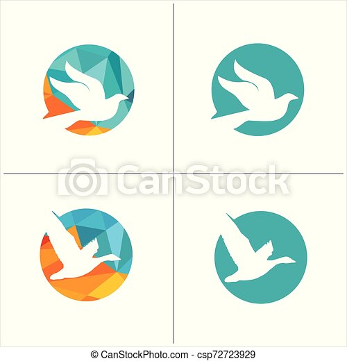 colorful birds vector logo design, freedom, happiness, fly, in circle hummingbird, flying duck illustration - csp72723929