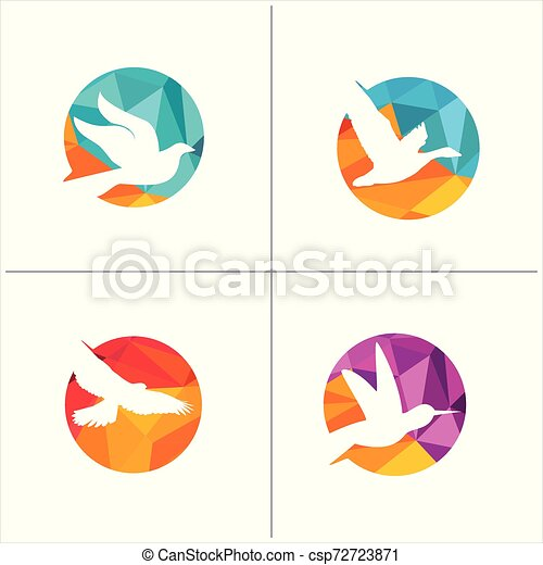 colorful birds vector logo design, freedom, happiness, fly, in circle hummingbird, flying duck illustration - csp72723871