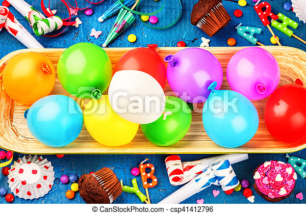 Colorful Birthday Background With Multicolored Balloons Happy Concept