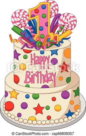 Swell Vector Illustration Of Colorful Birthday Cake On A White Background Funny Birthday Cards Online Eattedamsfinfo