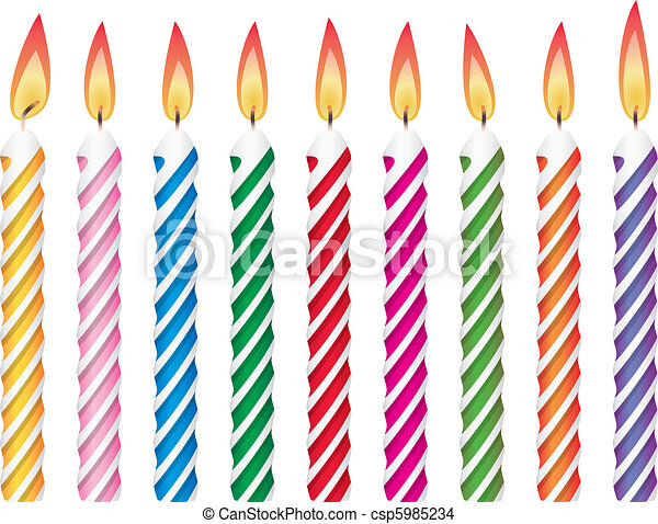 colorful birthday candles - csp5985234