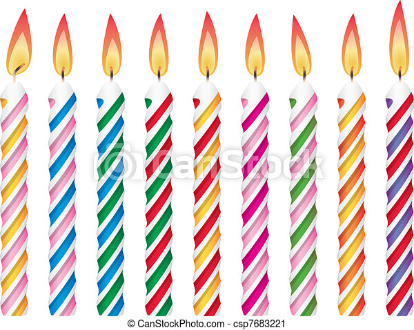 colorful birthday candles - csp7683221