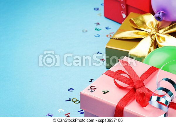 Colorful birthday gift boxes - csp13937186