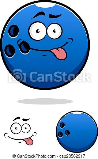 Colorful blue cartoon bowling ball - csp23562317