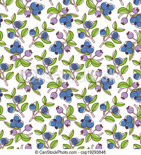 Colorful blueberries vector seamless pattern - csp19293848
