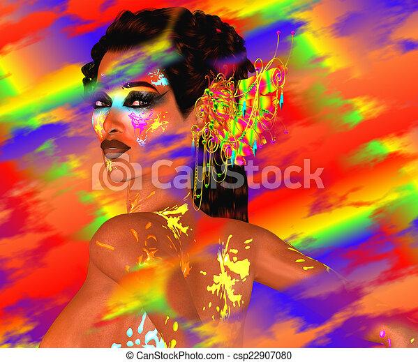 Colorful Blurs,Woman's Face - csp22907080