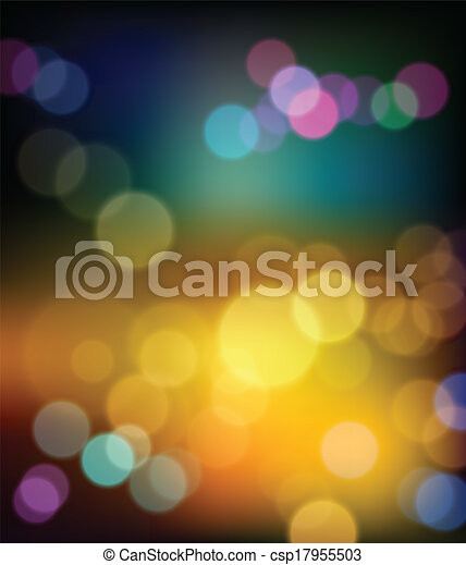 Colorful bokeh abstract winter  - csp17955503