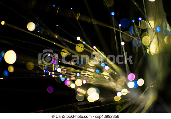 Colorful bokeh light celebrate at night, defocus light abstract background. - csp43992356