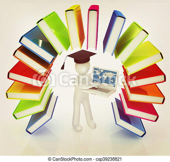 Colorful books like the rainbow and 3d man in a graduation hat with laptop . 3D illustration. Vintage style. - csp39238821