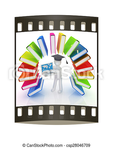 Colorful books like the rainbow and 3d man in a graduation hat with laptop. The film strip  - csp28046709