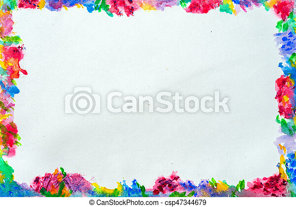 Colorful border for text or banner, card, template, design, formed by hand painted bright flowers with blots, splashes of watercolor. Abstract background - csp47344679