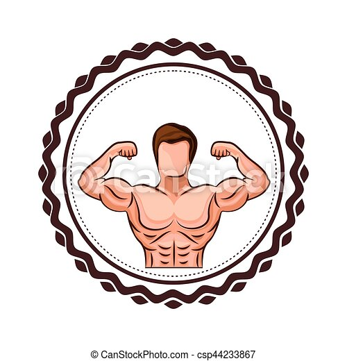colorful border with half body muscle man vector clip art vector rh canstockphoto com
