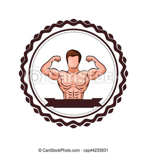colorful border with half body muscle man and label vector rh canstockphoto com