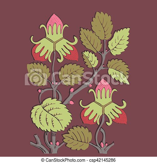 Colorful botanical hand drawn strawberry bush isolated on vinous - csp42145286