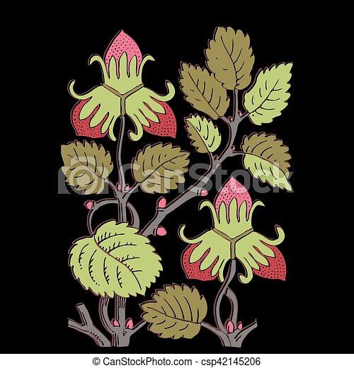 Colorful botanical hand drawn strawberry bush isolated on black - csp42145206