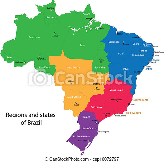 Colorful brazil map with states and capital cities eps vectors