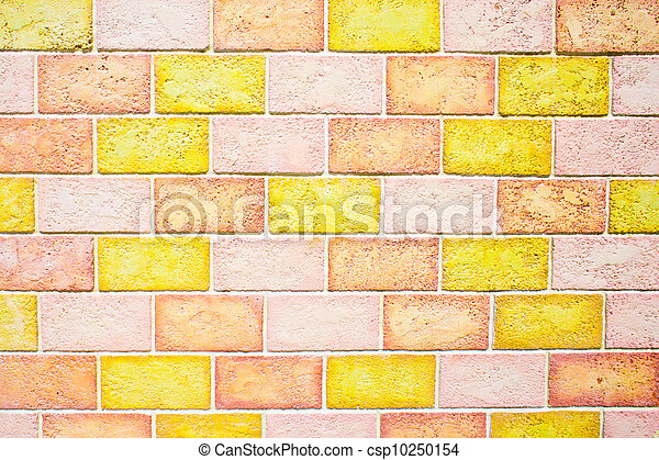Colorful brick wall. An unusual brick wall with multicolored ...