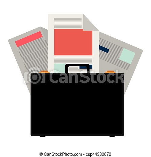 colorful briefcase and documents office - csp44330872