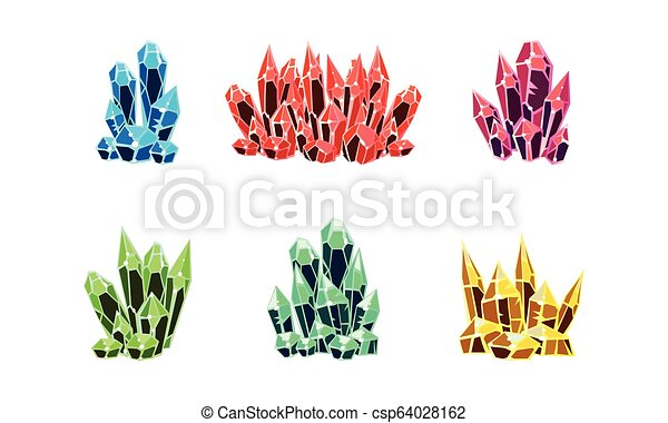 Colorful bright crystals set, mineral stone rocks vector Illustration on a white background - csp64028162