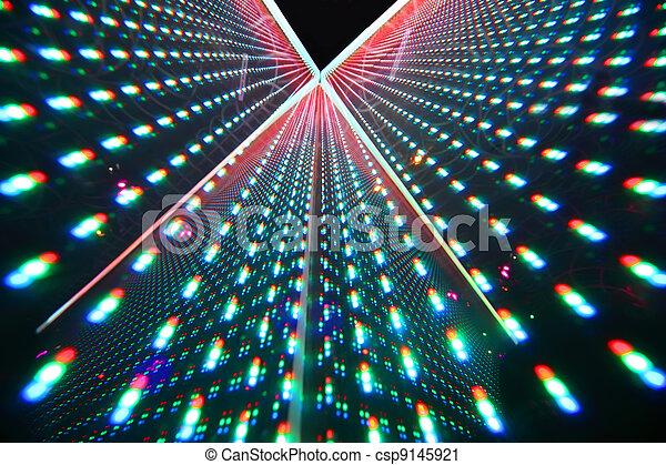 colorful bright illumination in nightclub, rows of bright lights - csp9145921