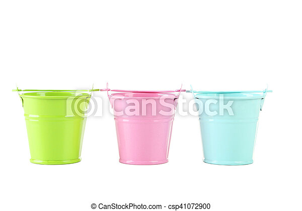Colorful buckets isolated on white - csp41072900