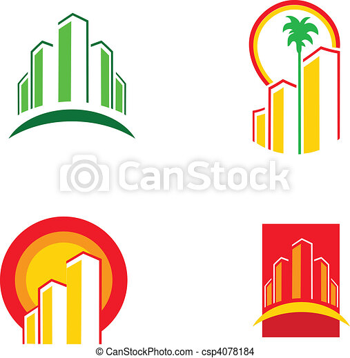 colorful building icons, vector illustration -1 - csp4078184