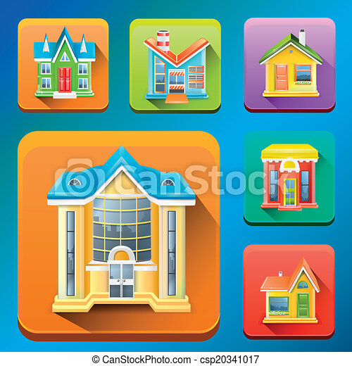 Colorful Building icons vector - csp20341017
