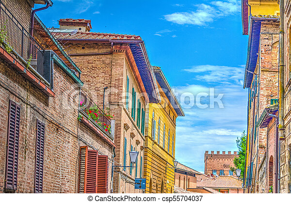 Colorful buildings in Siena - csp55704037