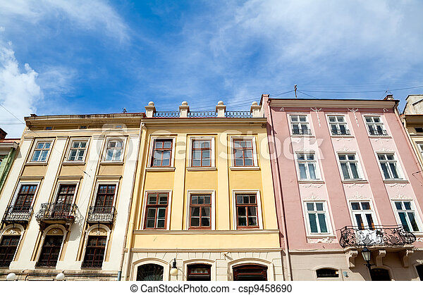 colorful buildings on Rynok Square in Lviv - csp9458690