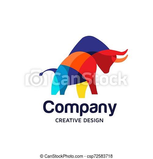 Colorful Bull Logo Symbol Vector - csp72583718