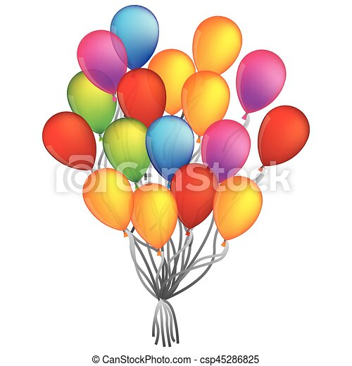 Colorful Bunch Of Birthday Balloons Flying For Party