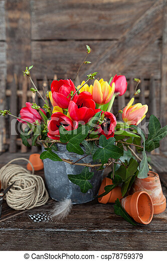 Colorful bunch of flowers - csp78759379