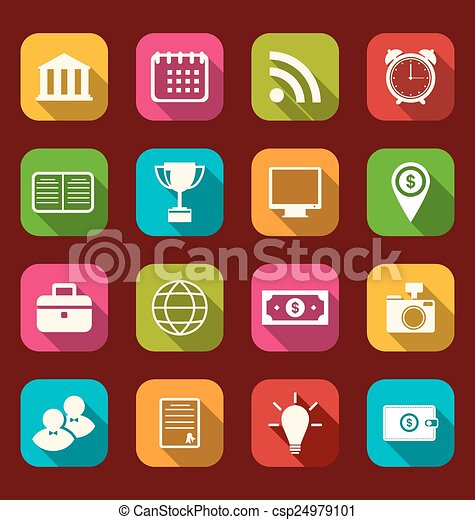 Colorful business and office objects, flat icons with long shadows - csp24979101