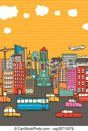 Colorful busy city with copy space - csp28710076