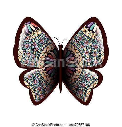 Colorful Butterfly Flying With Mandala Pattern Vector Illustration Design